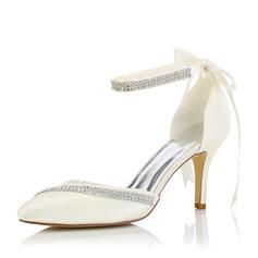 Женщины Атлас Высокий тонкий каблук На каблуках с Другие (047102651)