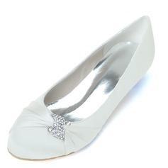 Женщины Атлас Низкий каблук (рюмка) Закрытый мыс На каблуках с горный хрусталь (047057090)