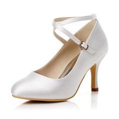Женщины Атлас Высокий тонкий каблук Закрытый мыс На каблуках с пряжка (047048020)