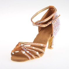 Women's Satin Heels Sandals Latin With Rhinestone Ankle Strap Dance Shoes (053018639)