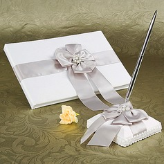 Beautiful Faux Pearl/Bow Guestbook & Pen Set (101018160)