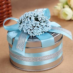 Smiling Flower Cylinder Favor Tin With Ribbons (Set of 6) (050016116)