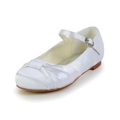 Детская обувь Атлас Плоский каблук Закрытый мыс На плокой подошве с пряжка Ruched (047031803)