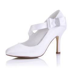 Женщины Атлас Высокий тонкий каблук На каблуках с Другие (047102653)