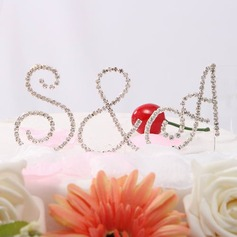 Bride & Groom's Initials Chrome Wedding Cake Topper (119031365)