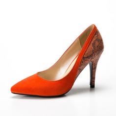 Women's Suede Leatherette Stiletto Heel Pumps Closed Toe shoes (085085030)