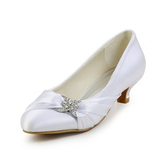 Women's Satin Kitten Heel Closed Toe Pumps With Rhinestone (047026402)