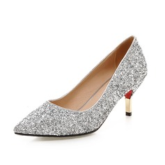 Women's Sparkling Glitter Cone Heel Pumps Closed Toe shoes (085085997)